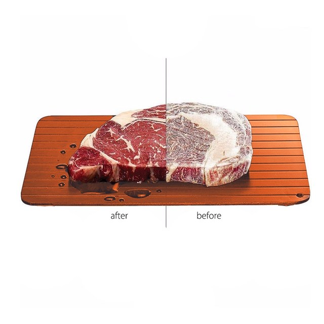 Brown Aluminum Fast Rapid Thawing Defrosting Tray Kitchen Safe Defrost Thaw  Frozed Meat Food Plate Tray