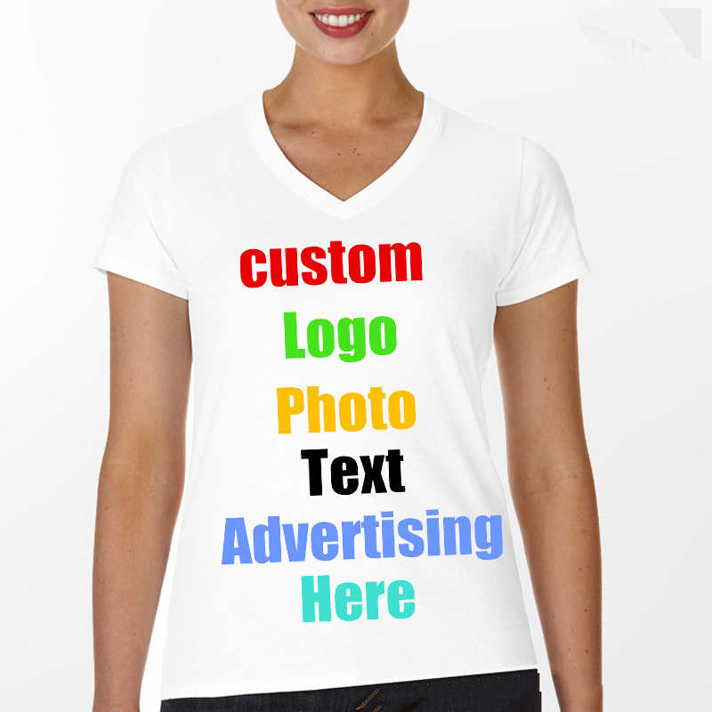 Custom Photo Text Logo Printing Women T Shirt V Neck T-Shirt Lady Tees  Advert