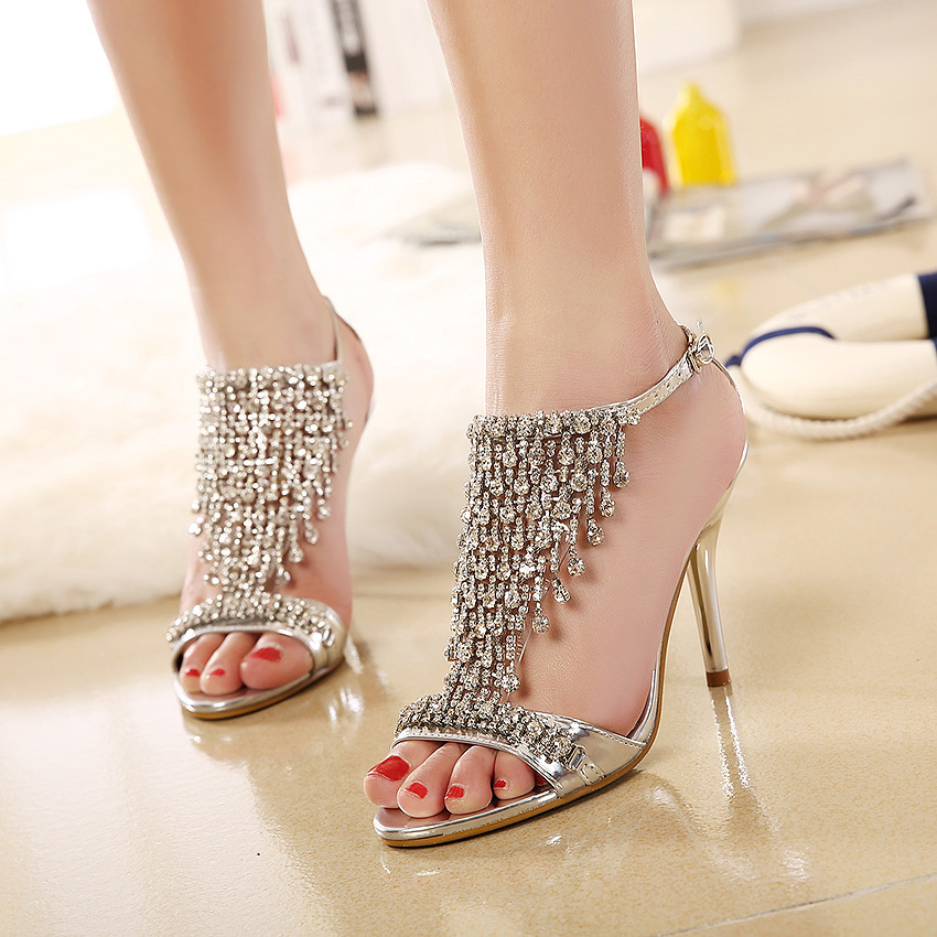 Swarovski Crystal Cut Outs Gladiator Sandals Women Rhinestone Stry High Heels Wedding Party Stiletto Shoes Woman In S From On