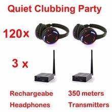 Silent Disco complete system black led wireless headphones – Quiet Clubbing Party Bundle (120 Headphones + 3 Transmitters)