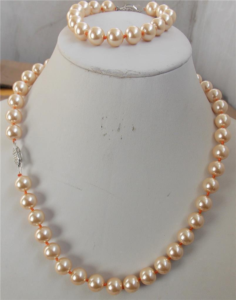 Free shipping charm Jew.655 10mm Yellow Shell Pearl Necklace Bracelet 18'' 7.5'' Set