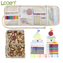 Looen Crochet Hook Set 9pcs Ergonomic Handles 2.0-6.0mm Crochet Needles Scissors Needles Sewing Accessories With Case Organizer