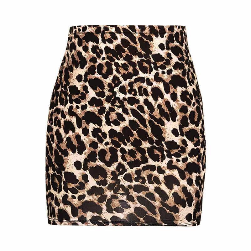 f502facf7d ... Harajuku Sexy Leopard print denim skirt women bodycon high waist pencil  skirt Streetwear fashion casual mini ...