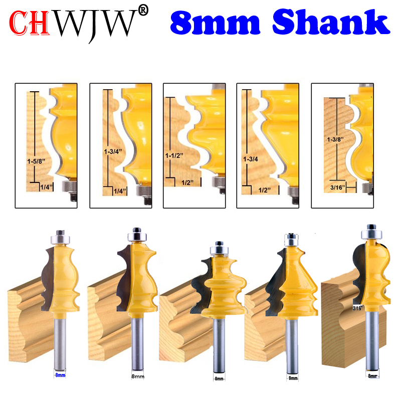 CHWJW 5PC 8mm Shank Casing & Base Molding Router Bit Set  CNC Line knife Woodworking cutter Tenon Cutter for Woodworking ToolsCHWJW 5PC 8mm Shank Casing & Base Molding Router Bit Set  CNC Line knife Woodworking cutter Tenon Cutter for Woodworking Tools