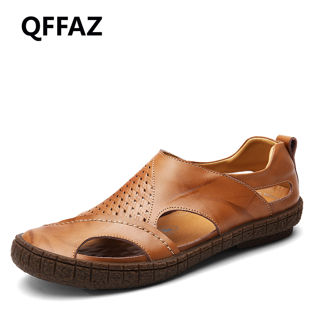 QFFAZ New Beach Genuine Leather Men Sandals Waterproof Summer Men Shoes Korean Version Daily Breathable Feet Lazy Casual Shoes