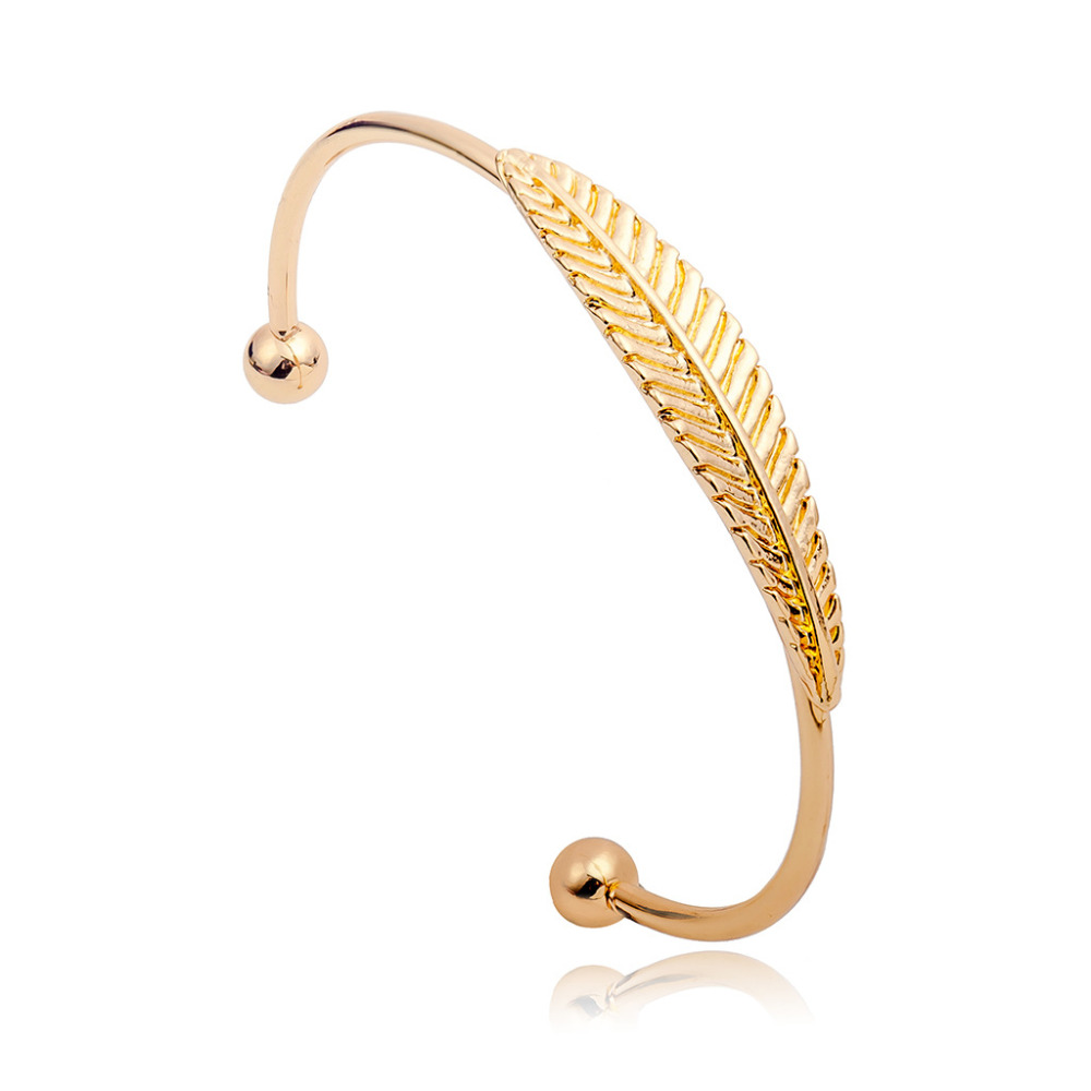 Gold Silver Plated Leaf Cuff Bracelet For Women Simple Feather ...