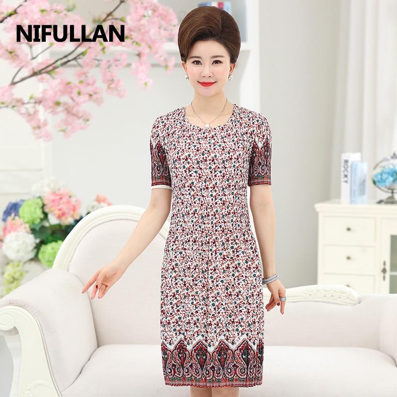 ec00f61afc495 NIFULLAN Summer Short Sleeve Floral Pleated Women Long Dress Fashion Mother  Plus Size Chiffon Casual Boho