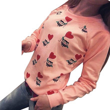 Women Long Sleeve Cute Owl Print weatshirts Top Casual Blouse Shirt free shipping