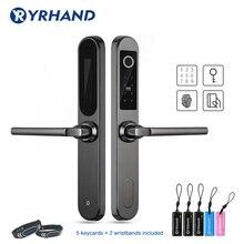 Electronic Fingerprint Lock Digital  Door Lock in 304 Stainless steel for Aluminum Glass Door with Euro Mortise 3585/4585