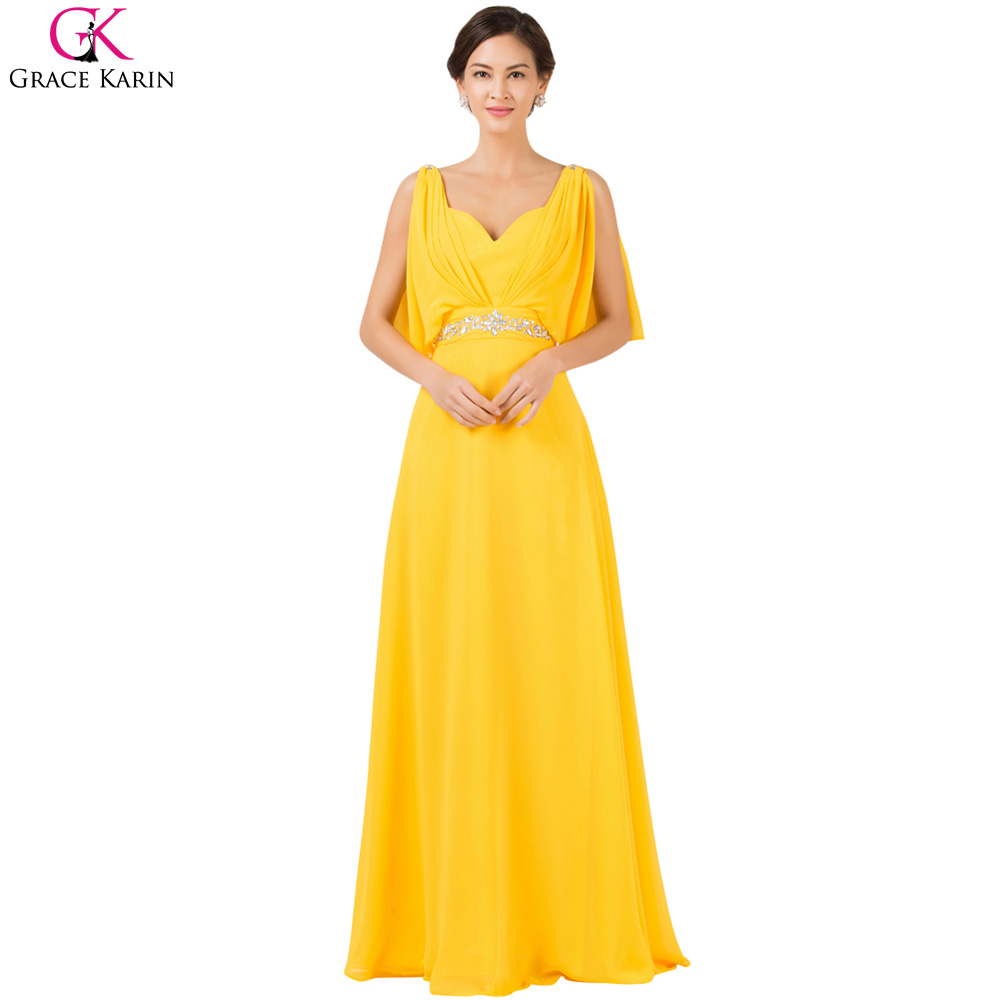 Yellow Prom Dress Long 2017 Grace Karin Sexy V Neck Prom ...