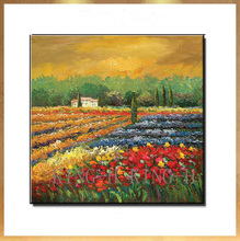 Selling hand-painted oil painting scenery landscape pastoral harvest rural porch red sofa hall without a frame
