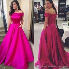 Off the shoulder Fuchsia Evening Dress With Pocket 2019 robe de soiree abiye Simple Style A-Line Satin Formal Prom Party Gown
