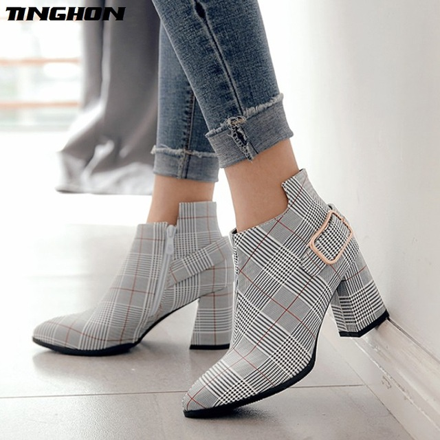 TINGHON 2018 Large Size Women Boots Fashion Plaid Pointed Toe High Heels  Women s Shoes Sexy female Autumn Winter Ankle Boots b9750294dead