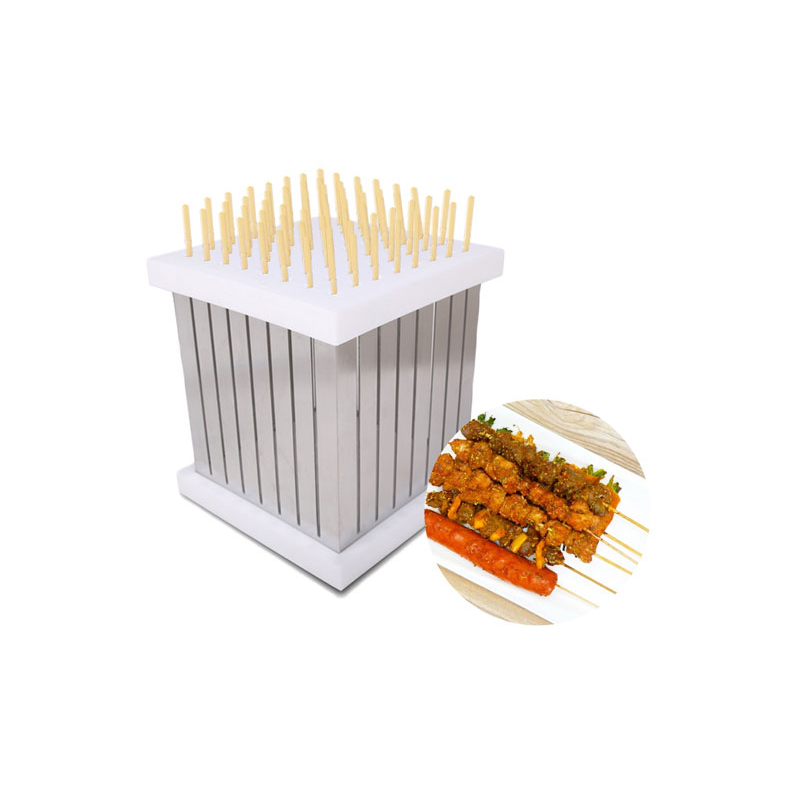 GZZT kebab skewer machine 64 Holes barbecue easy kebab maker MB 1 BBQ Tool Quick Food Slicer Box Meat Skewers Machine