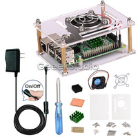 Acrylic Clear Case Enclosure Shell Kit With 5V2 5A Switch Power Supply Cooling Fan Heatsinks For