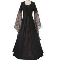 2018 Ladies Costume Party Dress Flare Sleeve Women Retro Vintage Dress Black Long Gothic Dress