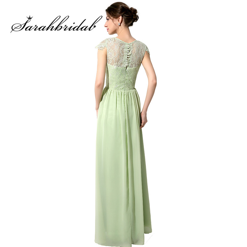 Cheap Sage Long Bridesmaid Dresses Vintage Lace Applique Cap Sleeves ...