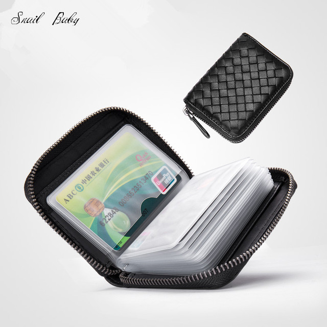 Zipper card package male leather multi card small wallet card package bag name card clip sheepskin woven female sleeve