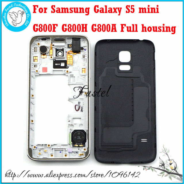For Samsung Galaxy S5 mini G800F G800H G800A New Original Phone housing cover case Middle Frame Battery door +Tool Free shipping