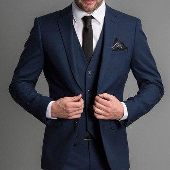 Темно синий формальный свадебный мужской костюм 2018, с отложным воротником, на заказ, деловые Свадебные смокинги для жениха (пиджак + брюки + ж