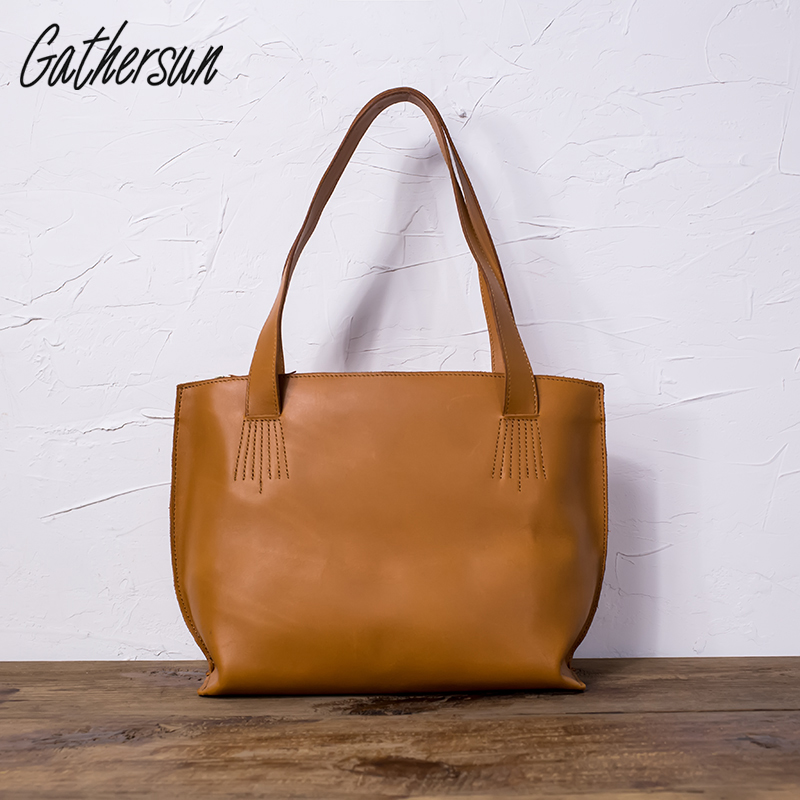 Gathersun Brand Casual First Layer Of Cowhide Handmade Vintage Genuine Leather Shopping Bag Women's Handbag Female Shoulder Bags new women vintage embossed handbag genuine leather first layer cowhide famous brand casual messenger shoulder bags handbags