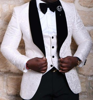 New Style Groomsmen Shawl Lapel Groom Tuxedos RedWhiteBlack Men Suits Wedding Best Man Blazer (Jacket+Pants+Tie+Vest) C46 roupas da moda masculina 2019