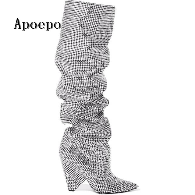 New brand Luxury Crystal Embellished Women over the Knee High heel boots pointed toe spike heels runway boots riding boots
