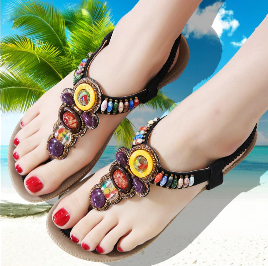 1b66ca3bc5 US $17.8  2017 national wind flat thong sandals female vamco Bohemia  rhinestone beaded sandals with the Roman women's shoes-in Women's Sandals  from ...