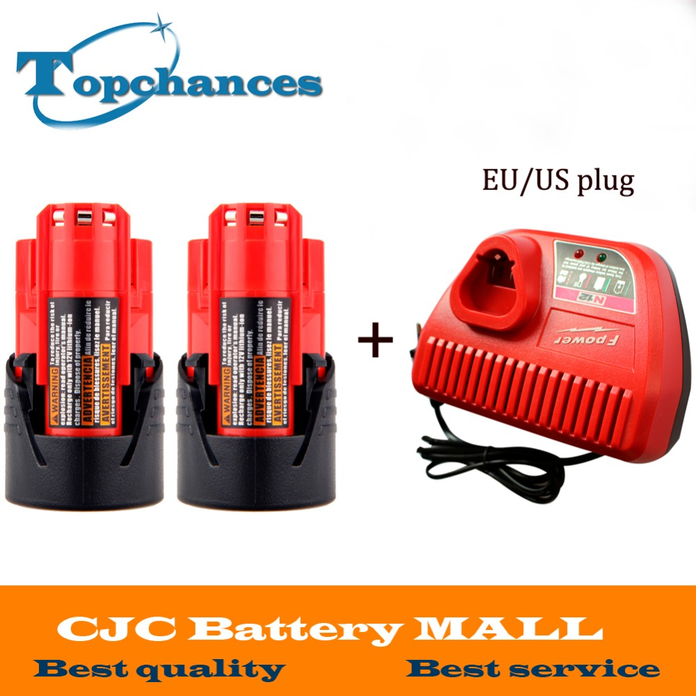 цена на 2PCS M12 12V 1500mAh 48-11-2401 Lithium Ion 18Wh Cordless battery for Milwaukee 48-59-1812,2510-20, 48-59-2401+charger