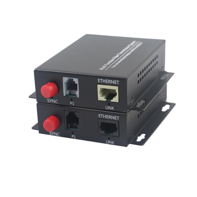1 Channel PCM Voice Telephone Transmitter Fiber Optic Media Converter Singlemode FC UPC 20KM with Ethernet
