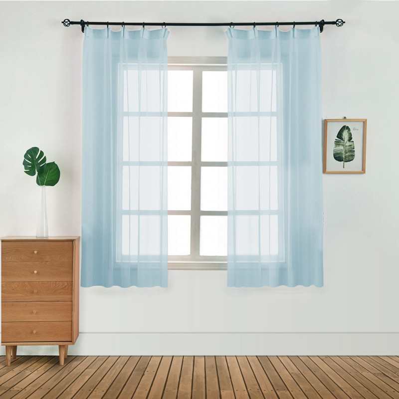 Tulle Curtain Valances Drape-Panel Sheer Door Bedroom Window 100x130cm Living-Room Pure-Color title=