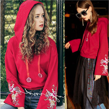 Long Sleeve Hooded embroidery Bell Sleeve Casual Fashion Hoodie Coat bell sleeve jumper