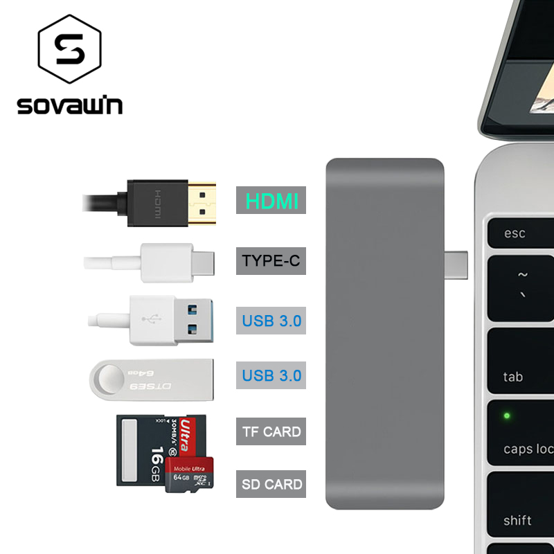 Aluminum Alloy 4K HDMI USB-C Type C USB 3.0 Hub Splitter Adapter TF / Micro SD Card Reader for imac for macbook pro 2015 2016 ssk scrm 060 multi in one usb 2 0 card reader for sd ms micro sd tf white