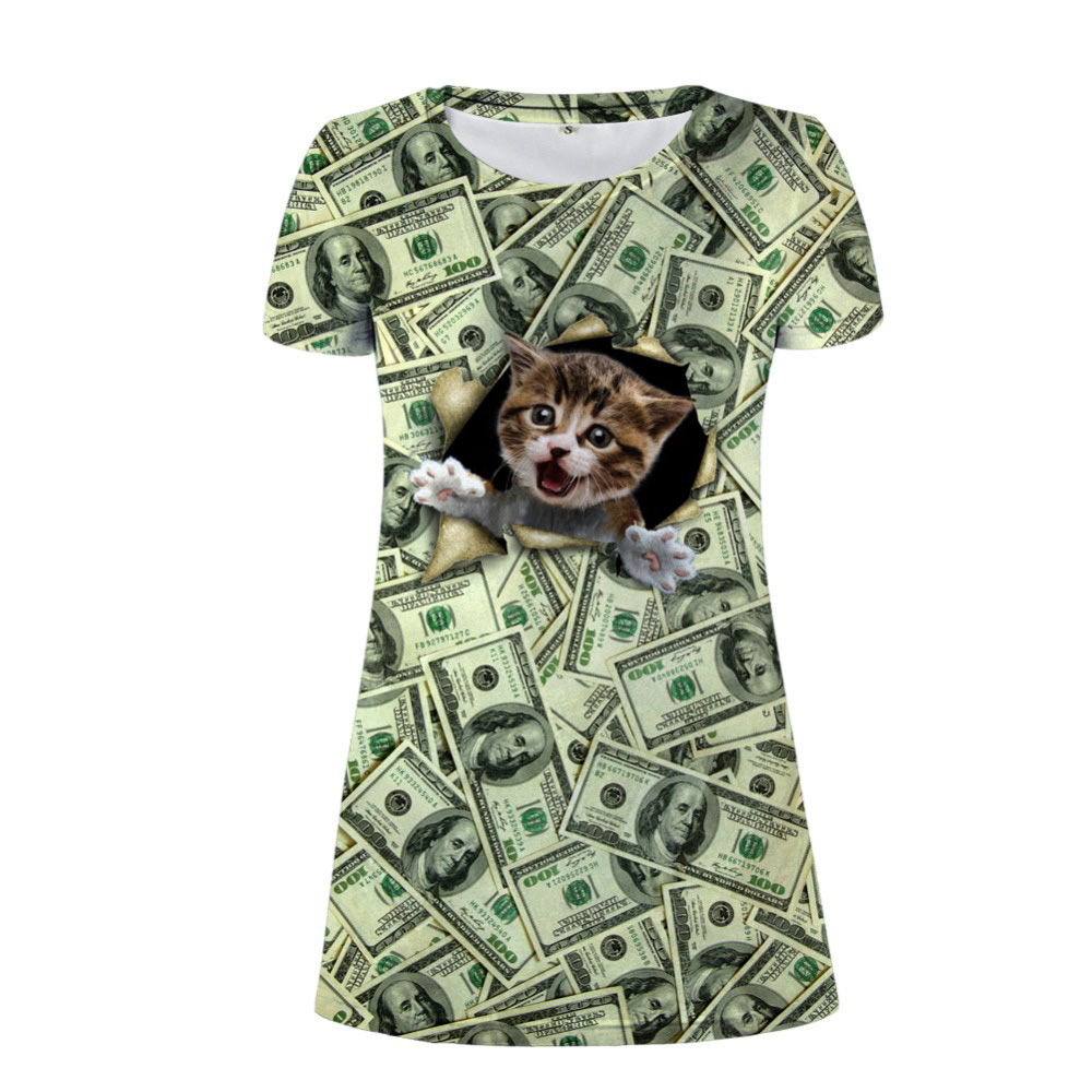 NoisyDesigns Women Dress 3D Dollar CAT Prints Short Sleeve Dress Funny Sundress Ladies Daily Casual Dress 2018 Vestidos De Festa
