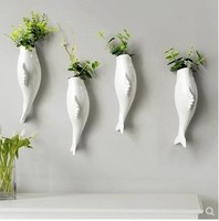 Three dimensional pendant, ceramic fish wall hanging vase, wall decoration crafts