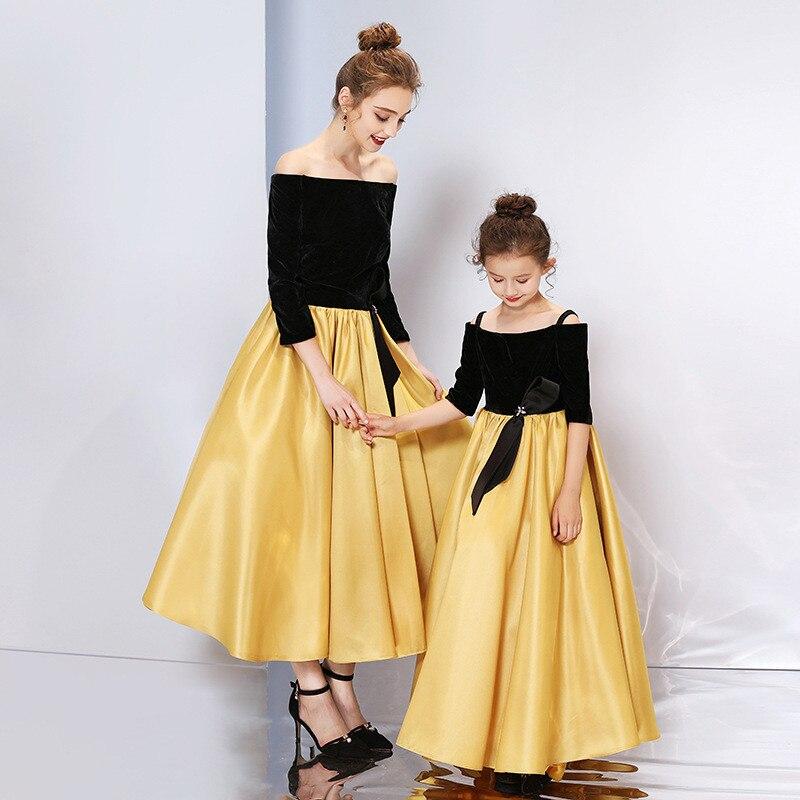 Mère fille enfants robe vêtements maman et enfants robe complète famille correspondant tenues bébé filles vêtements robe de soirée C0245 - 2