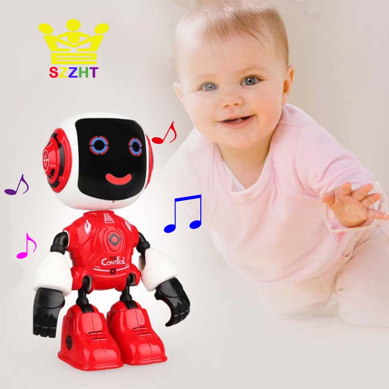 Alloy Touch Sensing Electric Smart Robot Toys Induction Voice Phone Holder Model Decoration For Children Kids Early Educational