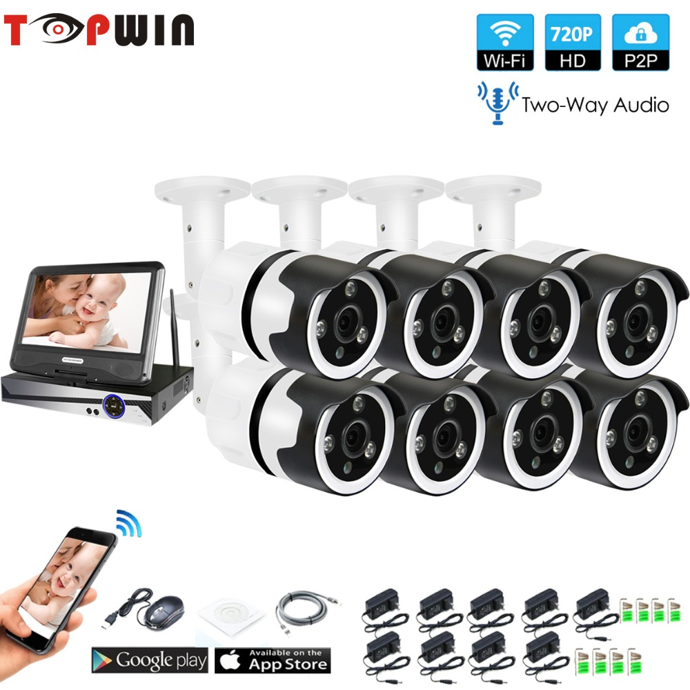 8CH two way audio talK HD Wireless LCD NVR Kit P2P 720P Indoor Outdoor IR Night Vision Security 1.0MP IP Camera WIFI CCTV System