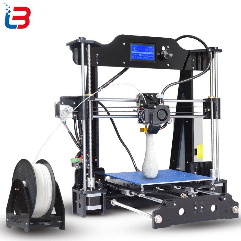 2017 Mise À Niveau Tronxy X8 modèle Date 3D Imprimante 12864 LCD affichage en aluminium MK3 heatbed MK8 directe extrudeuse DIY kits complets