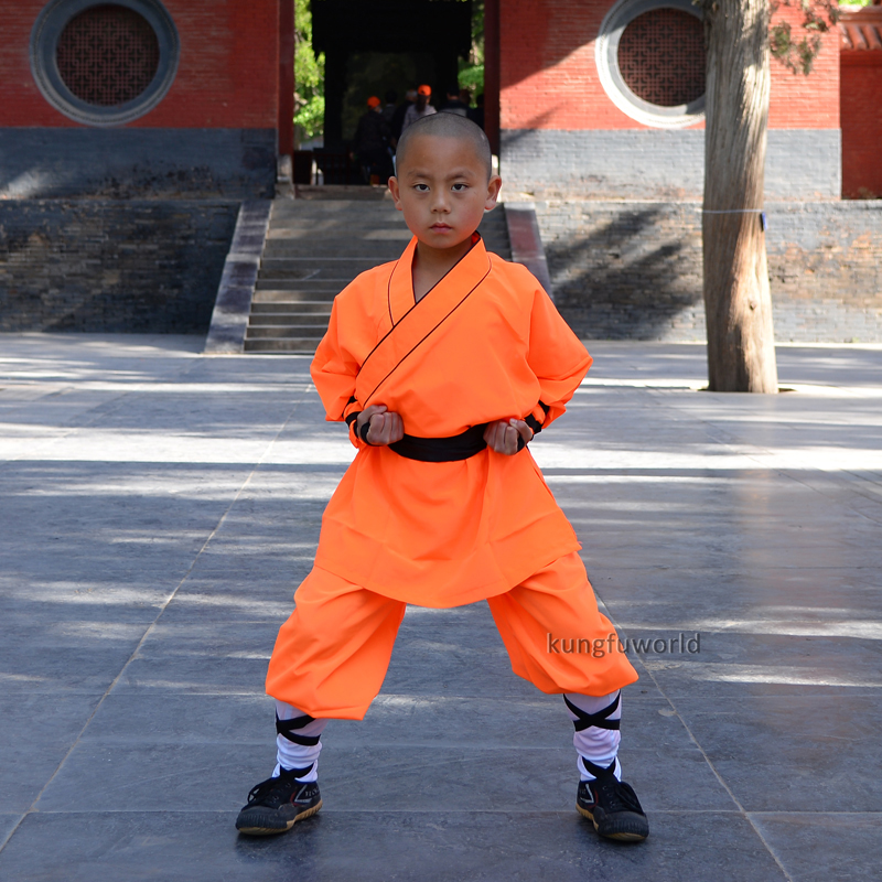 Populære Orange Polyester Shaolin Uniform Kung Fu Skole Uddannelse Tai Chi Wing Chun Martial Arts Karate Suit Kostumer