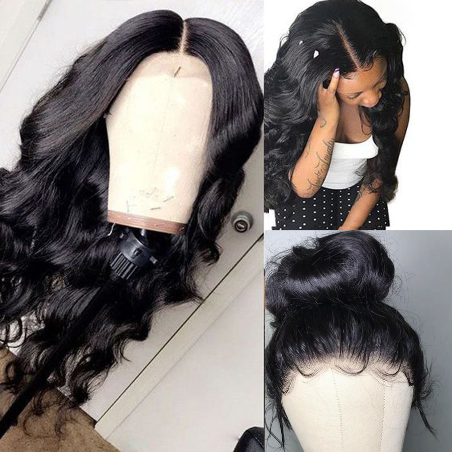 360 Lace Frontal Wig Pre Plucked With Baby Hair Brazilian Body Wave Lace Wig Lace Front Human Hair Wigs For Women RXY Remy Black (2)