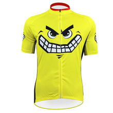 cycling jerseys Free Shipping Smiley Faces Pattern Men Yellow Polyester Short Sleeve Cycling Apparel Size 2XS To 5XL