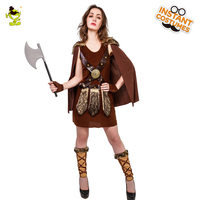 Woman's New Deluxe Vinking Costume Ladies Brown And Cool Suit For Carnival Party Cosplay Dress Viking Leader Decoration Outfits