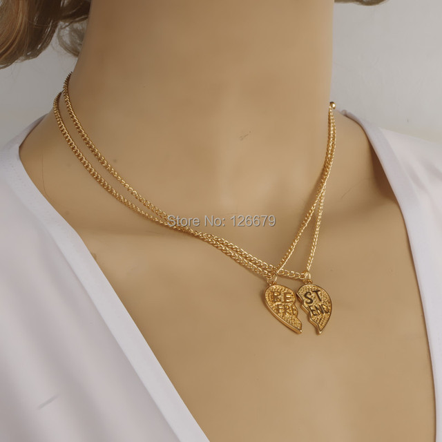2017 new fashion gold best friend heart shape sister pendant 2017 new fashion gold best friend heart shape sister pendant necklace jewelry product designs for women mozeypictures Image collections