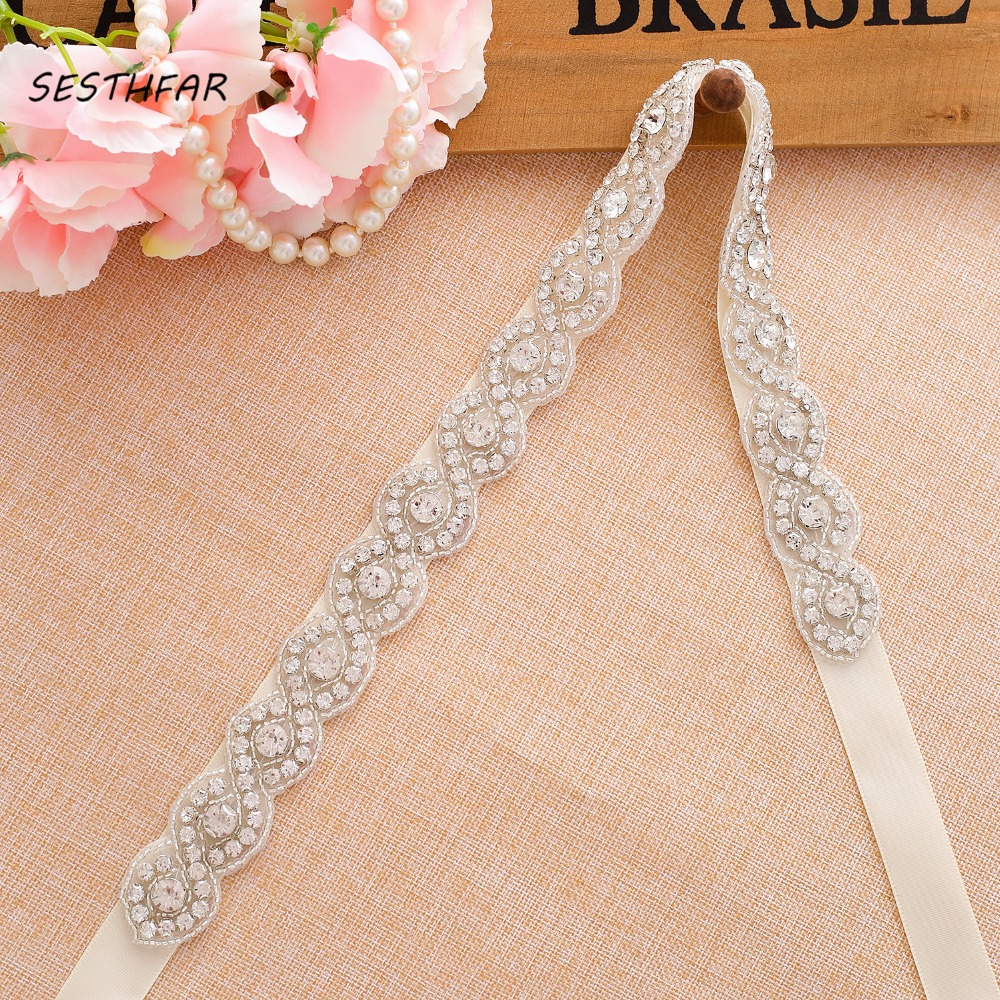 Crystal And Rhinestone Wedding Belt Beading Bridal Sash For Wedding Gown Handmade Wedding Accessories J108