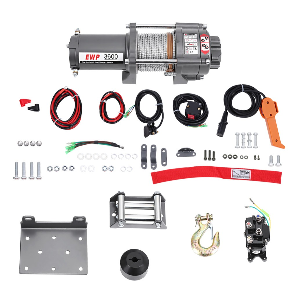 3600LB Electric Winch DC 12V Steel Cable Powerful Winch Quad Bike ATV Boat Wincher Tool Rubber Block Control Handle Ribbon Sets