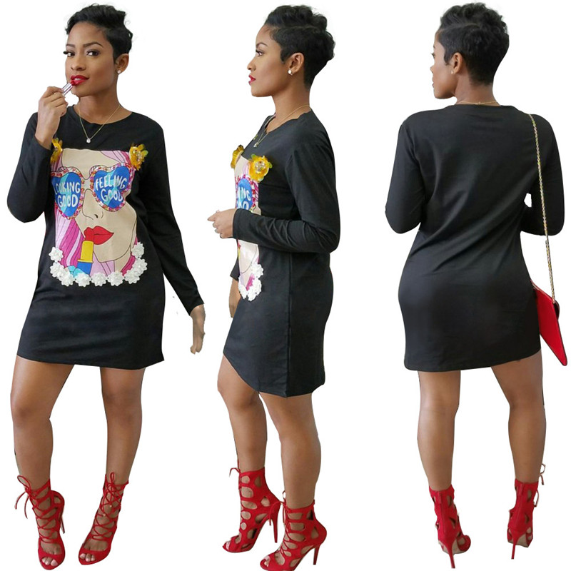 Black Long Sleeve T Shirt Dress Women Fashion 2017 Autumn Dresses Character Printed O Neck Appliques Loose Cute Casual Dresses