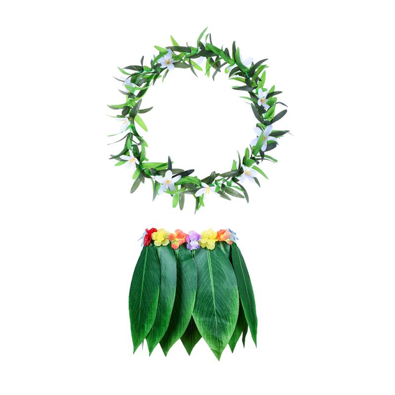 Image 2 - 4PCS Adult Tropical Hawaiian Beach Clothes Hawaii Costume Leaves Skirt Grass Skirt Dance Skirt with Garland for Traval Festival-in Party DIY Decorations from Home & Garden