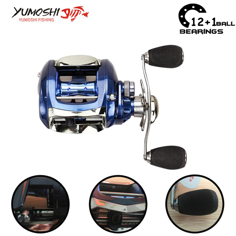 Yumoshi 12+1BB 6.2:1 Right/Left Hand Feeder Carp Bait Casting Fishing Reels  low profile reel Fishing Reel Carretilha Moulinte brand new smt yamaha feeder ft 8 2mm feeder used in pick and place machine