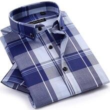 Men's Short Sleeve Bold Plaid Checkered Dress Shirts Comfortable Cotton Lightweight Smart Casual Tops Slim-fit Button-down Shirt